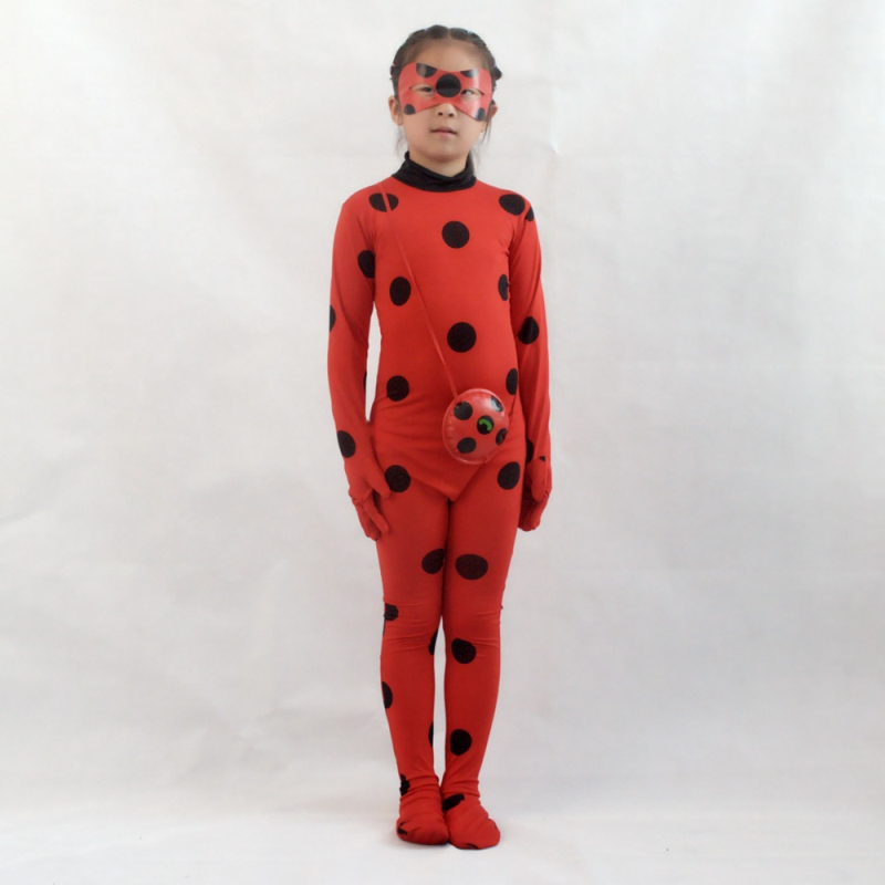 Girs Jumpsuit Cartoon Ladybug Girls Cosplay Jumpsuits With Mask And Bag Dot Print Girl Clothing Set Red Kids Costume