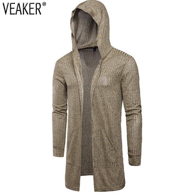 2018 Autumn New Men Thin Hooded Cardigan Outerwear Male Black Gray Gold Solid Color Slim Fit Long Cardigans M-3XL