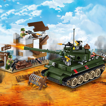 380Pcs Military Series War Tiger Tank Counterattack Exercises Soldiers Building Blocks Sets  Bricks Toys for Children