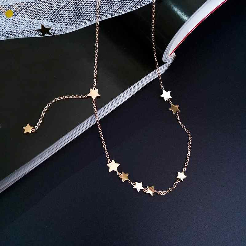 Stainless Steel Star Necklace Women Fashion Jewelry Simple Choker Collares Temperament Pendants Birthday Gift