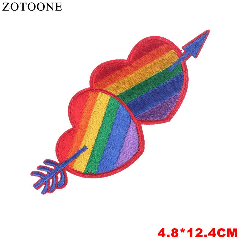 ZOTOONE 1 PCS Unicorn Love Parches Embroidered Iron on Patches For Clothing DIY Stripes Clothes sequin Stickers Lips Appliques D