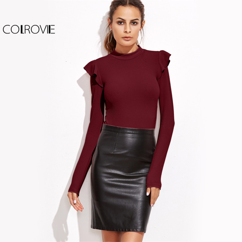 COLROVIE Mock Neck Textured Bodysuit Women Cute Ruffle Long Sleeve Burgundy Bodysuits 2017 Fall Casual Sexy Basic Lady Bodysuit 1