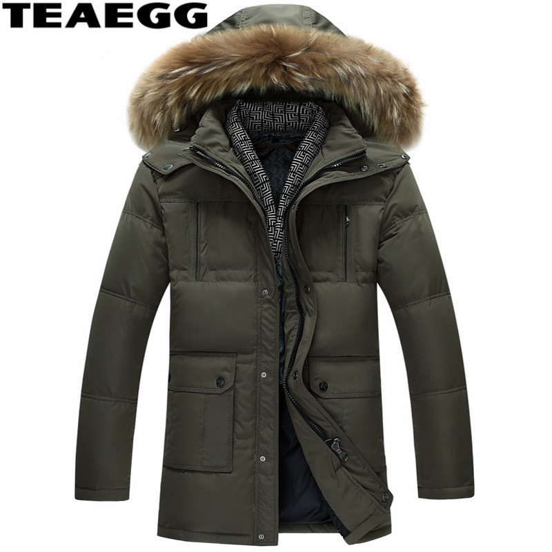 TEAEGG Chaqueta Plumas Hombre Feather Jacket Men Coat Casual Thick Winter White Duck Down Jacket For Man Parka Outwear AL371