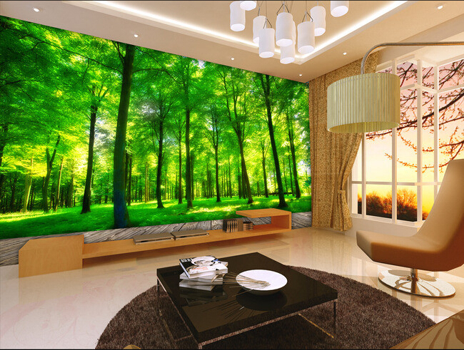 Custom 3d photo wallpaper, 3D stereoscopic green forest mural for living room bedroom TV backdrop waterproof papel de parede custom 3d room mural wallpaper non woven wallpaper senery red maple forest photo living room tv backdrop bedroom photo wallpaper