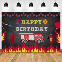 Firetruck Birthday Party Backdrop Fireman Fire Truck Firefighter Photography Background Boy Birthday Decorations Photo Banner