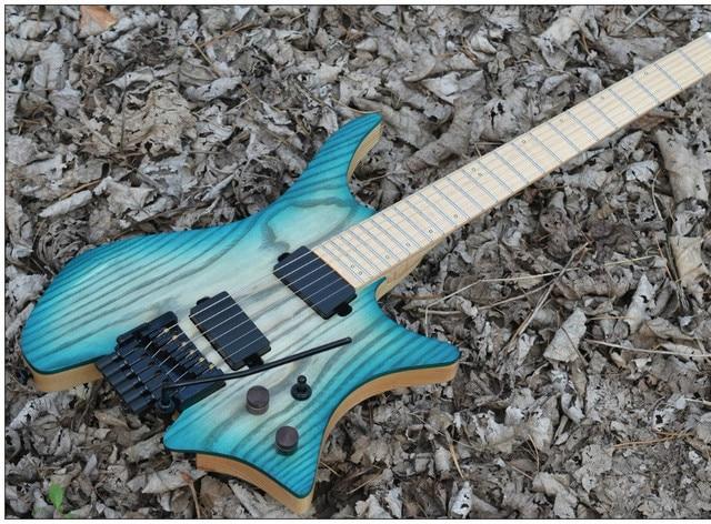 Top quality FDHL-017 transparent blue, solid Ash body, maple fretboard, black hardware,  headless guitar