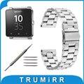 24mm correa de acero inoxidable 3 puntero para sony smartwatch 2 sw2 reemplazo venda de reloj pulsera de la correa negro de oro rosa de plata