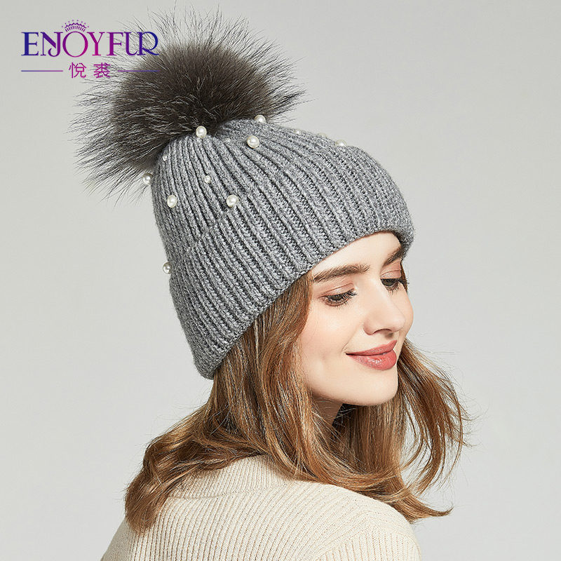 8d2d3de748712c ENJOYFUR Real Fur Pom Pom Hats For Women Knitted Beanies Caps With Pearl  Women's Winter Hats