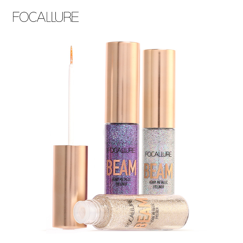 Focallure Glitter Eyeliner 5 Colors Waterproof Shimmer Metal Liquid Eyeliner Easy to Wear Liquid Eyeshadow Pigment Eye Liner Kit free shipping 3 pp eyeliner liquid empty pipe pointed thin liquid eyeliner colour makeup tools lfrosted purple