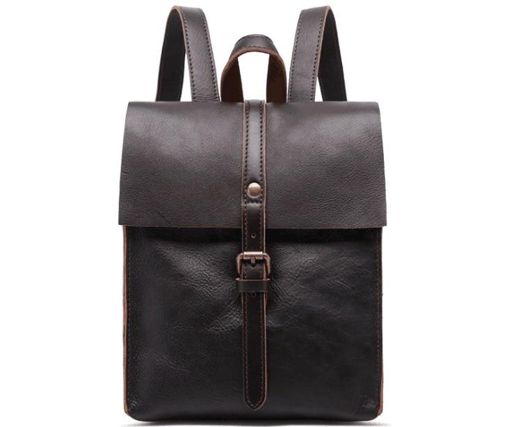 Genuíno couro de bezerro pele unisex mochila do vintage escola saco macio de alta qualidade