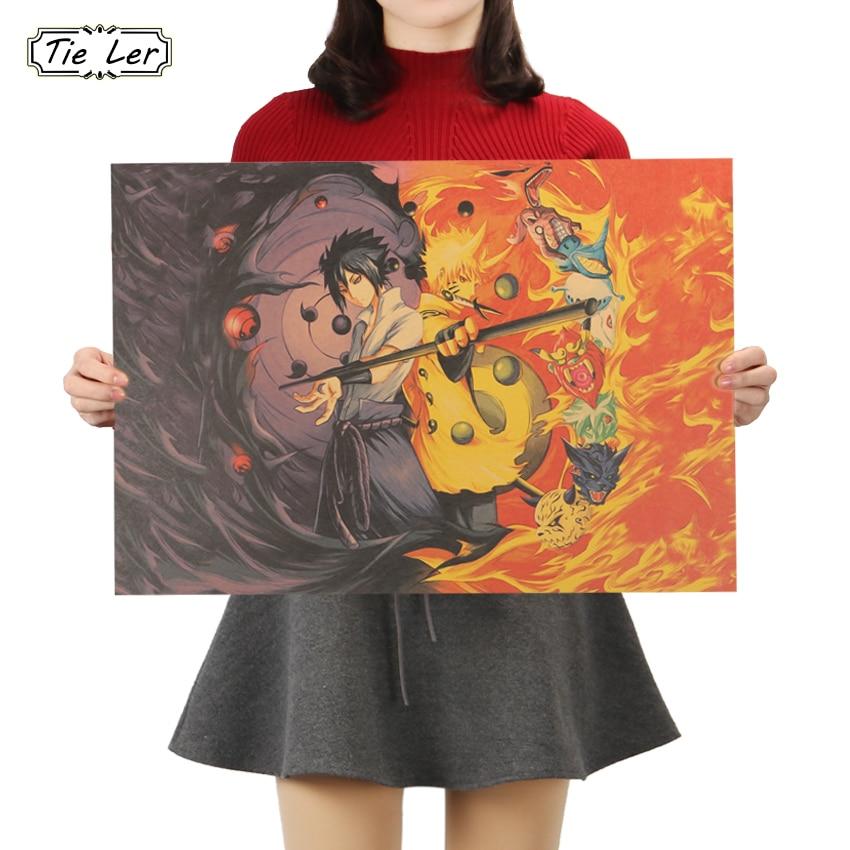 TIE LER Naruto Classic Japanese Cartoon Comic Kraft Paper Bar Poster Retro Poster Decorative Painting Wall Stickers