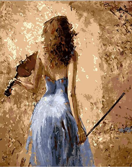 Nordic poster canvas wall art painting The violin girl DIY Painting ...