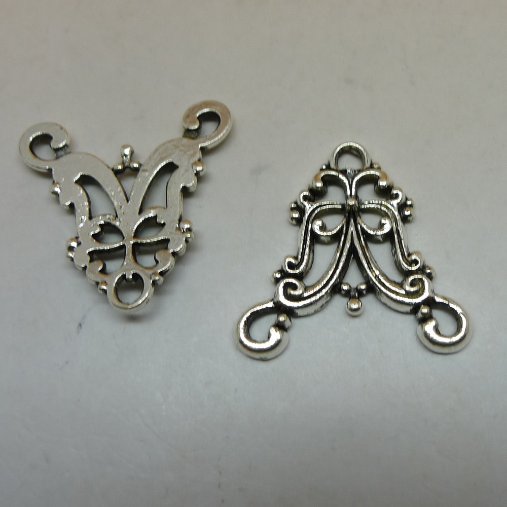 free shipping antique silver planted filigree earrings