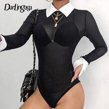 Darlingaga Transparent black mesh bodysuit sexy body women long sleeve contrast color catsuit hot sale rompers womens jumpsuit