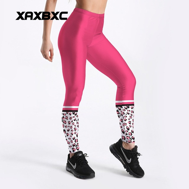 2c33c30669771 2018 New C4119 Rose Pink Leopard Patchwork Printed Push Up Slim Tights  Fitness Women Jogging GYM Yoga Pants Femme Sport Leggings