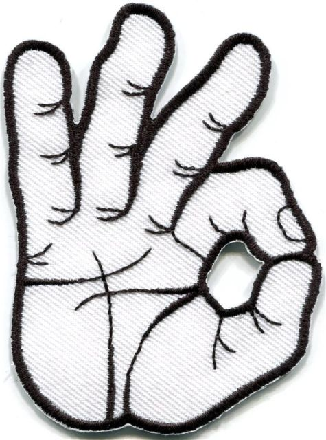 ok okay hand sign signal logo retro applique iron on patch new in