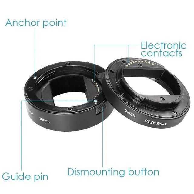 Meike Auto Focus Macro Extension Tube Ring for Sony E-Mount A6300 A6500 A6000 A7 A7II A7SII NEX-7 NEX-6 NEX-5R NEX-3N NEX-5N