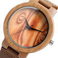 Christmas Gifts Wood Watch Sport Bamboo Pattern Wristwatch Men Minimalist Modern Simple Quartz-watch Genuine Leather Band Strap