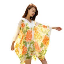 2019 New summer Scarf Shawl Poncho Sunscreen Women Sun Protection Soft Beach Bikini Cover flower printed