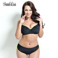 Plus size 2017 mid waist bikini swimsuit bordered solid color bathing suit 4XL Size women swimwear PUSH UP