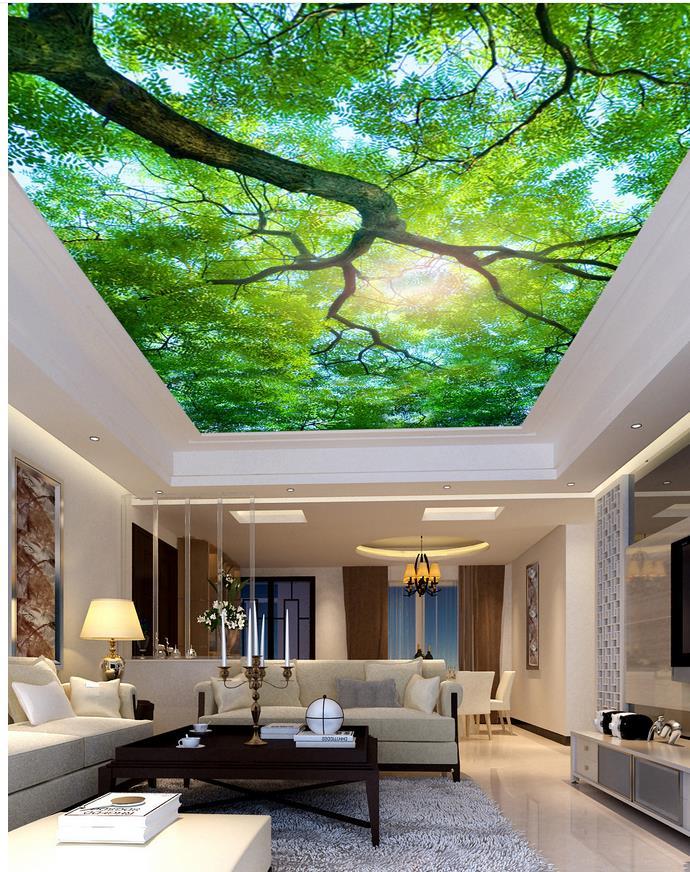 Wallpaper Designs For Living Room: Beautiful Tree Living Room Bedroom Ceiling 3d Room