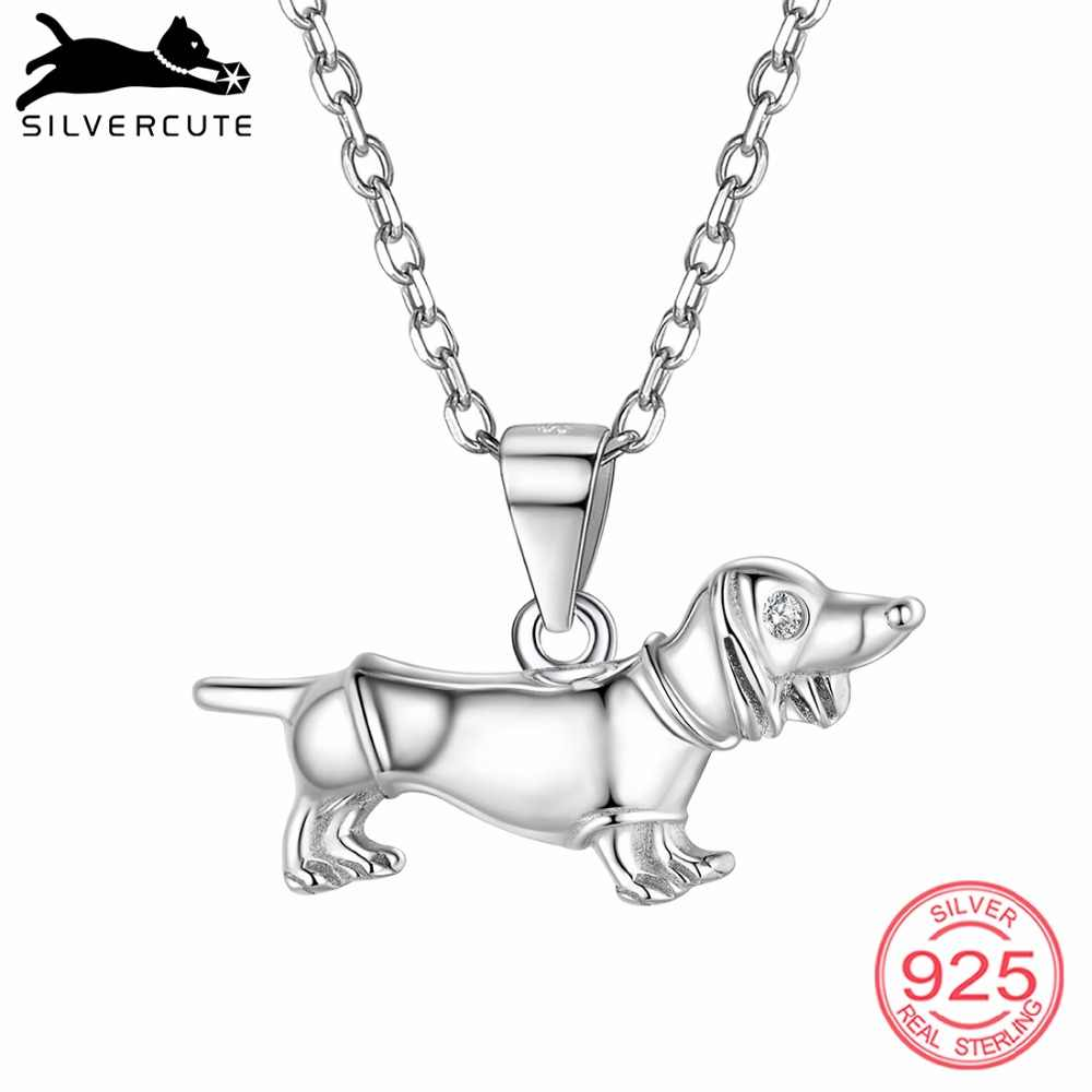 SILVERCUTE 925 Sterling Silver Dachshund Necklace For Women Fine Jewelry Silver Dackel Teckel Dog Pendant Necklaces SCP6445B