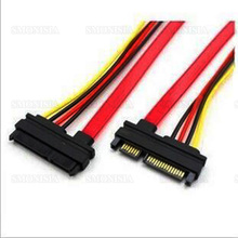 10pcs- 500pcs Sata Data Cable Power Wire Extended Line Male To Female Hard Disk 7+15 0.5m Red