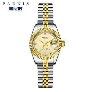 Image 3 - 26mm Parnis frauen Uhr Luxus Mechanische Damen Uhren Royal Strass Edelstahl Japan Bewegung Armband mit Calend