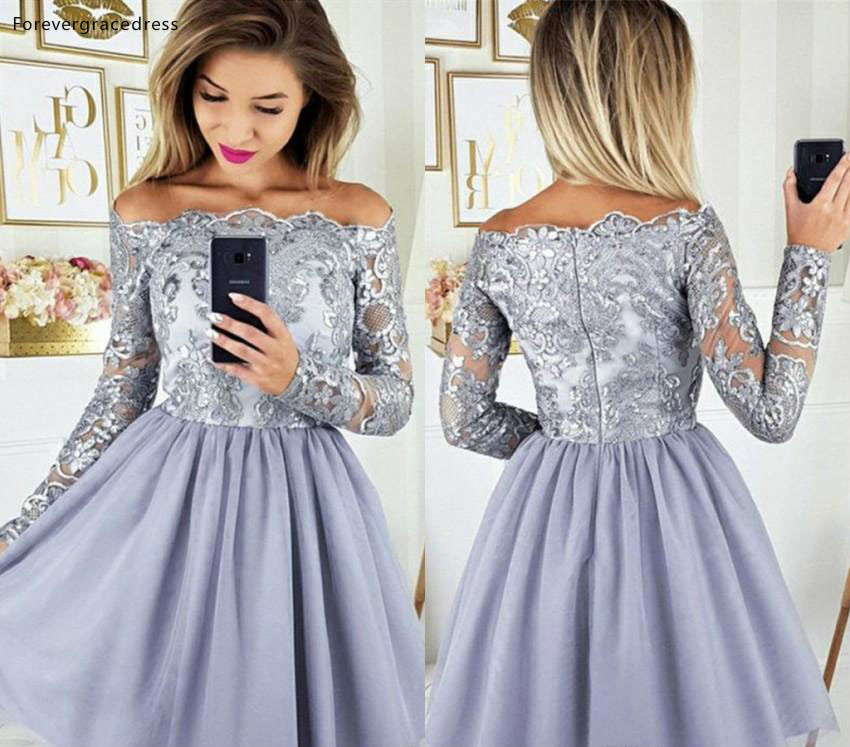 2019 Lavender Arabic Homecoming Dress A Line Long Sleeves Lace Juniors Sweet 15 Graduation Cocktail Party Gowns Plus Size