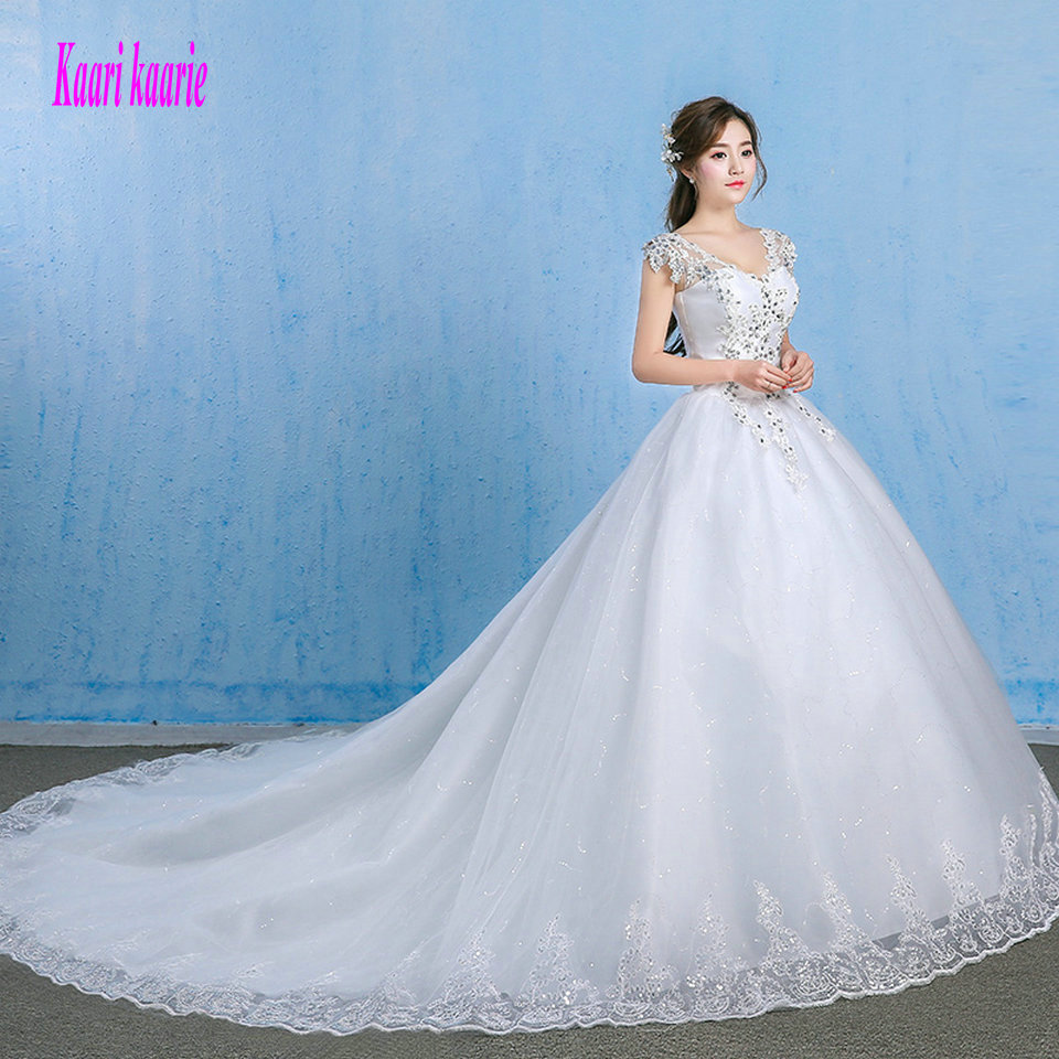 Luxury White Wedding Gowns 2018 Sexy Ivory Wedding Dresses V-Neck Tulle Appliques Crystal Formal Bridal Dress Long Custom made