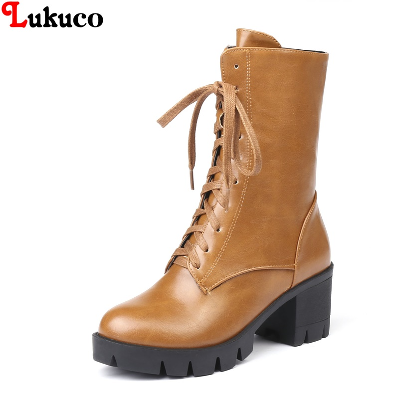 Lukuco Winter Popular Women Boots Round Toe Plus Size 38 39 40 41 42 43 44 45 46 High Quality Botas Custom Handmade PU Shoes 2019 lukuco winter warm plush women boots oversize 38 39 40 41 42 43 44 45 46 high quality botas custom handmade pu lady shoes
