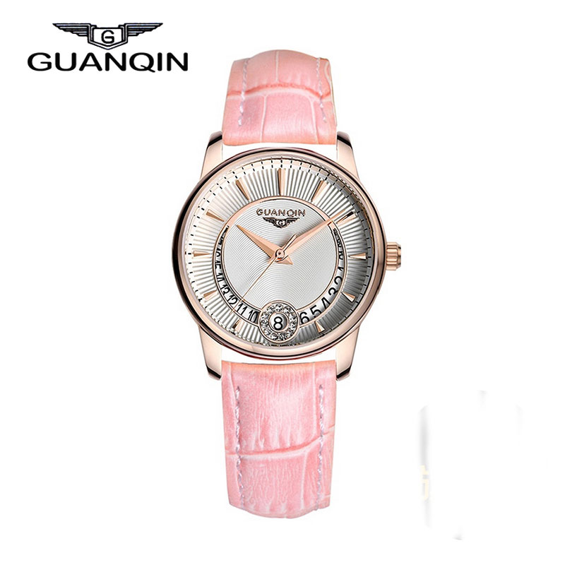 ФОТО GUANQIN GQ15009 Watch Women Genuine Fashion Temperament Diamond Ladies Watch Waterproof Belt Fashion Watches Wristwatches