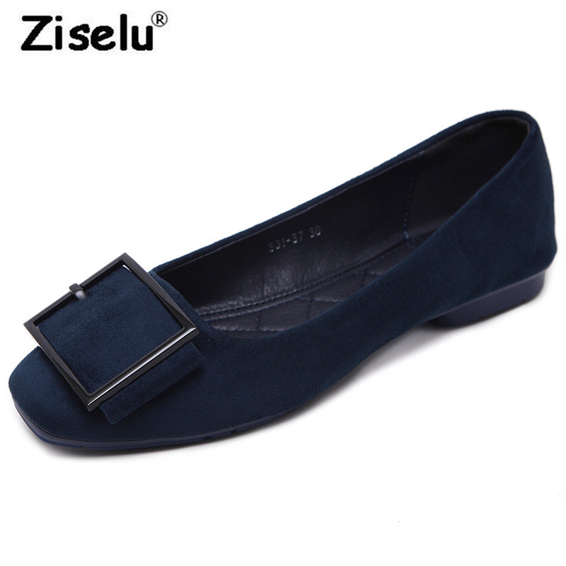 2018 Spring New Arrived Square Toe Suede Women Flats Shallow Slip on Comfortable Office Lady Boat Shoe Hot Fashion Leisure Shoes hot sale 2016 new fashion spring women flats black shoes ladies pointed toe slip on flat women s shoes size 33 43
