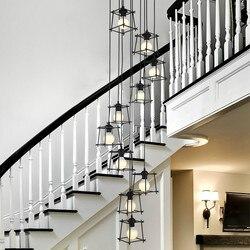 Niestandardowe przemysłowe wiatr światła schodowe długie lampy wiszące osobowości twórczej sztuki loft kute schody światła wf4261526