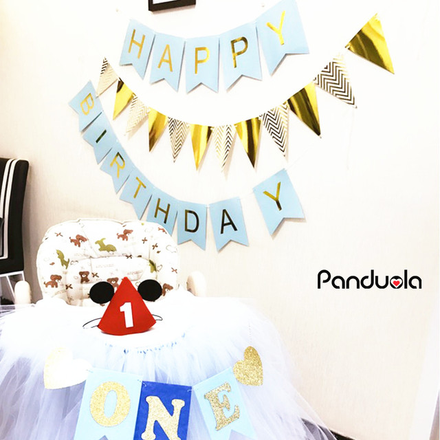 Happy Birthday Bunting Banner Flag Party Decoration Hanging Garlands Flags Baby Shower birthday party decorations kids confetti