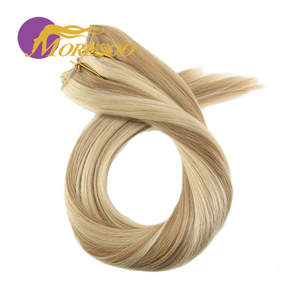 Moresoo 12-22 Inch Flip In Human Hair Extensions Fishing Line Halo Hair Invisible Hidden Secret Wire Machine Remy Brazilian Hair