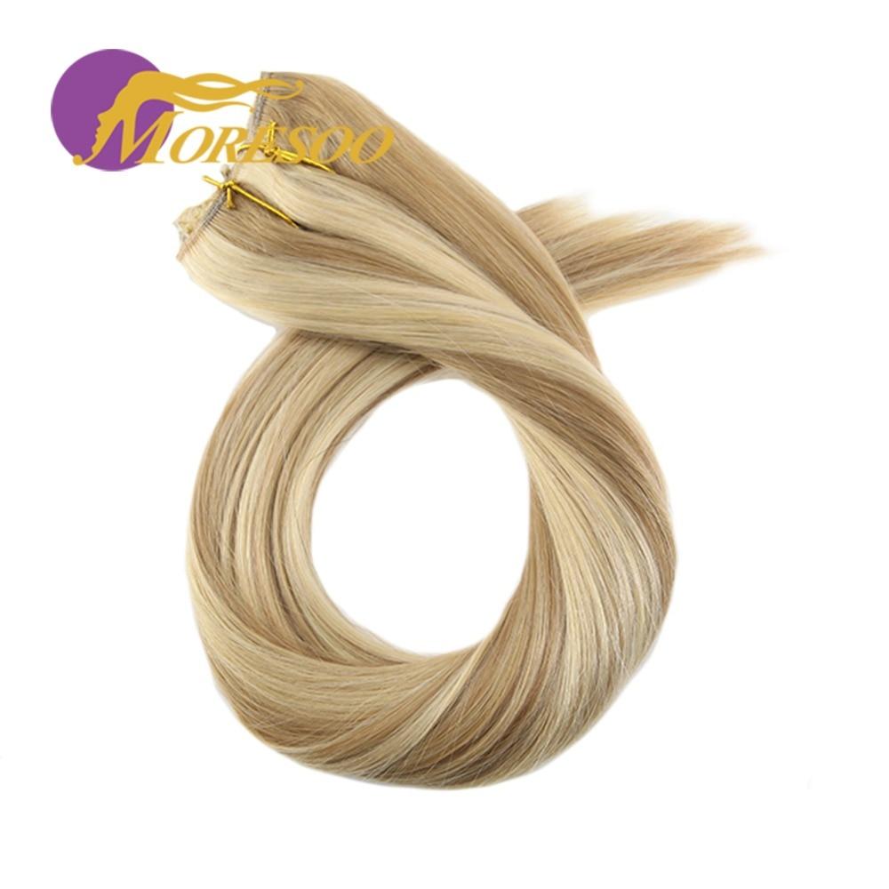Moresoo 12-22 pouces retourner dans les Extensions de cheveux humains ligne de pêche Halo cheveux Invisible caché Secret fil Machine Remy cheveux brésiliens
