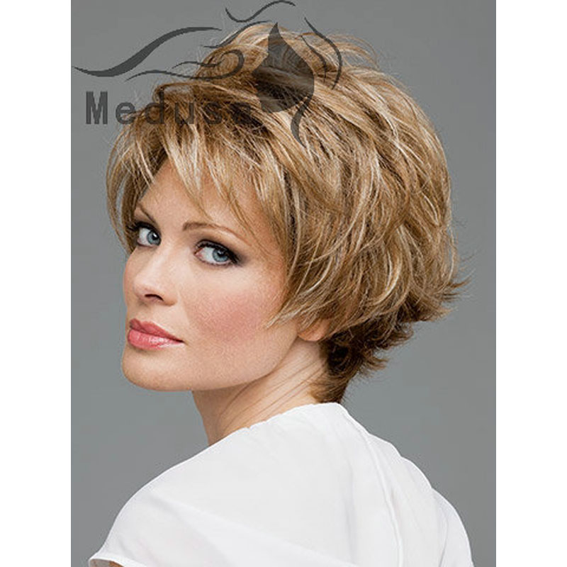 Medusa Hair Products Shag Hair Styles Short Blonde Wig For Women