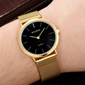 WOONUN Top Brand Luxury Gold Watches Men Stainless Steel Mesh Strap Quartz-watch Fashion Man Clock Ultra Thin Watches for Men