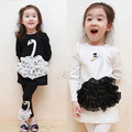Girls Korean Children Little Swan Lycra Cotton Long Sleeved Suit for Children Black and White Two Piece Kids Suit Clothes 2~8