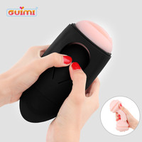 GUIMI Silicone 3D Pussy Male Masturbator Electric Vibrator Artificial Vagina Masturbation Cup Adult Sex Toys for Men Real Pussy