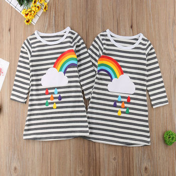 2018 Baby Kids Girls Striped Long Sleeve Rainbow Dress Party Pageant Princess Cloud Raindrop Dress comme des garcons cdg play