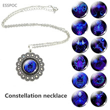 12 Constellation Necklace Silver Plated Women Glass Cabochon Charm Necklace Pendant Twelve Zodiac Sing Jewelry zodiac signs glass cabochon crescent moon necklace constellation pendant tibetan silver chain necklace women fashion accessories