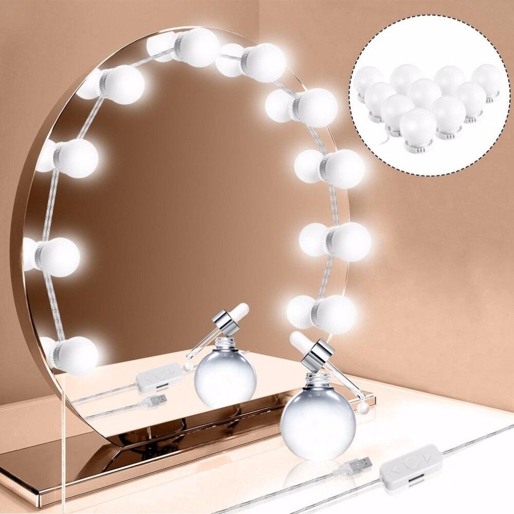 Spiegel Neue Frauen Make-up Kosmetische Klapp Tragbare Tasche Spiegel Mit 8 Led Beleuchtung Lampen