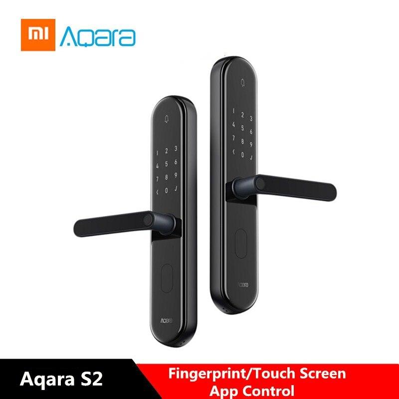 Xiaomi Aqara S2 cerradura de puerta inteligente huella Digital de pantalla táctil sin llave de bloqueo de casa inteligente App Control ajustable derecha/izquierda MANO