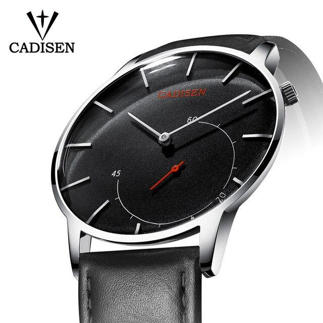 Hommes chauds montre CADISEN nouvelle mode daffaires 2019 Top marque de luxe en verre incurvé en cuir montres à Quartz Sport étanche montre-bracelet