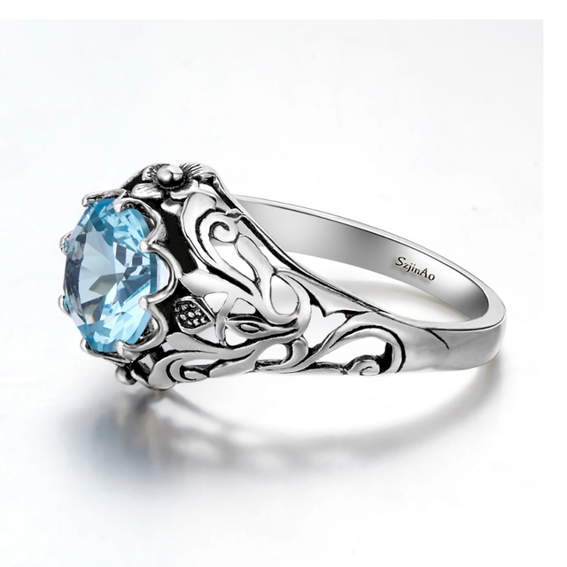Szjinao Wholesale Punk High Quality 2.1ct Aquamarine 925 Sterling Silver Rings for Women Vintage Luxury Brand Jewelry China