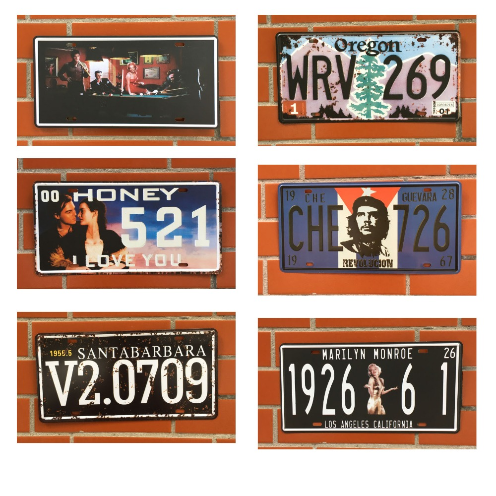 CHIZIYO United States Old Car License Plate Painting Plate Vintage Tin Sign Bar Pub Home Wall Decor Retro Metal Art Poster