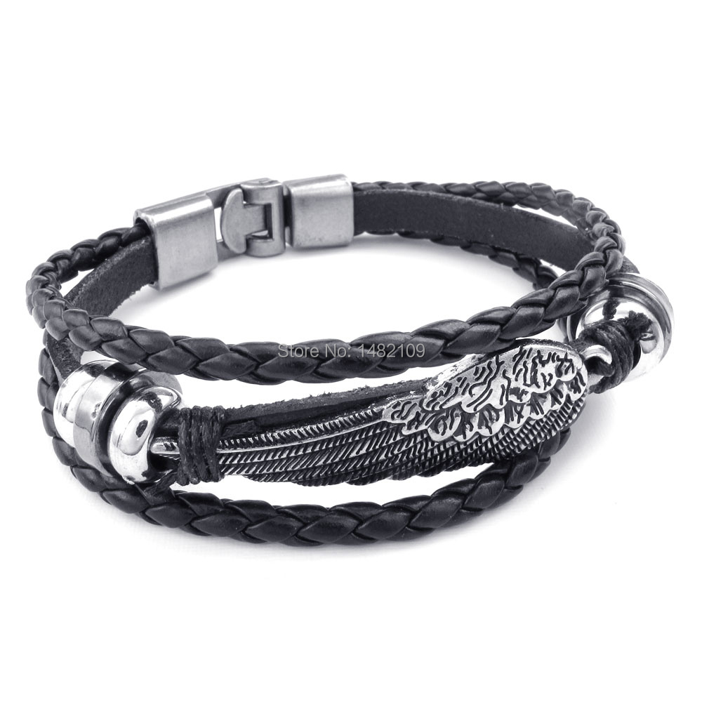 Men Women s Alloy Genuine Leather Bracelet Bangle Cuff Black Silver Angel  Wing Feather Braided Biker Brand New wholesale ecc74ebdba