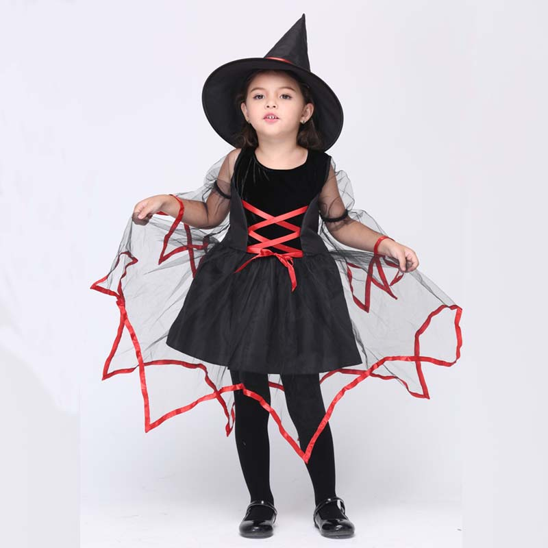 2017 New Children Witch Costume Set Dress W Hat halloween costume for kids Baby Little Girl Birthday Gift Party Perform Clothes цена